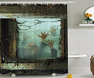 Walking dead zombie shower curtain i brain zombies for Zombie bathroom decor