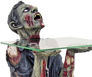 Chained kneeling zombie glass table i brain zombies for Table zombies